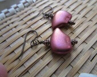 Mama Bear *Sale* Metallic Purple Czech Glass Earrings Short Cute Earrings Southwestern Bear Earrings Hypoallergenic Niobium French Hooks
