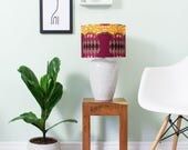 Lampshade African Wax Print - African print lampshade -  geometric - Lamp shade - Ceiling - Lighting - Lampshade - Pink yellow ripple