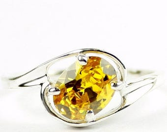 On Sale, 30% Off, Golden Yellow CZ, 925 Sterling Silver Ring, SR186