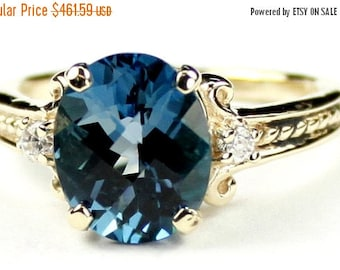 On Sale, 30% Off, London Blue Topaz, 10KY Gold Ring, R136