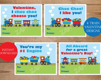 Train Valentines -  I Choo Choose You - Print your own valentines