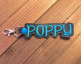 Personalized Name Tag, Personalized Name Keychain, Personalized Name Zipper Pull ---70 Colors --- Poppy Outline Font