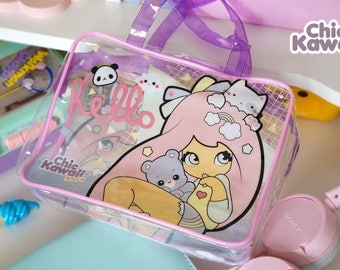 Chic Kawaii plastic cosmetic bag, super cute!
