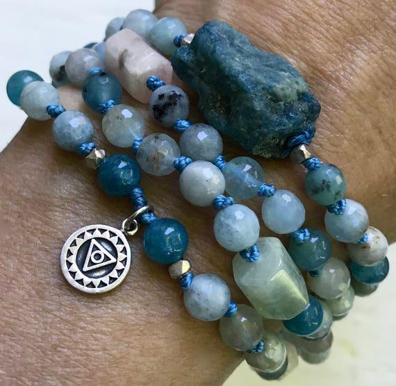 Throat Chakra Mala Necklace, Third Eye Chakra Mala, 108 Wrist Mala Bracelet, Aquamarine, Raw Apatite  Vishuddha Chakra Beads , Yoga Jewelry