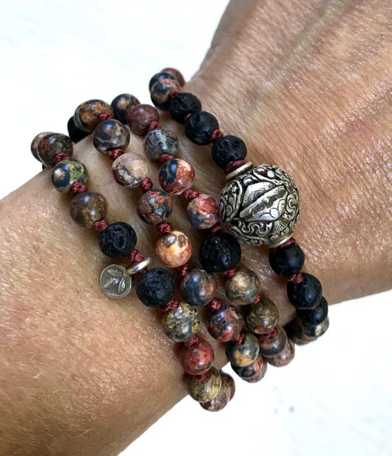 Mala for Prosperity & Liberation, 8 Auspicious Symbols, Treasure Vase Symbol, Leopardskin Jasper, Lava, Antique Rudraksha, Buddhist Beads
