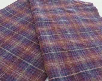 Wool Blanket TARTAN PLAID Vintage  Colors are Purple Blue Tan w/ a bit of Gold  //  100% Wool Vintage Blanket Twin Size or Throw Size