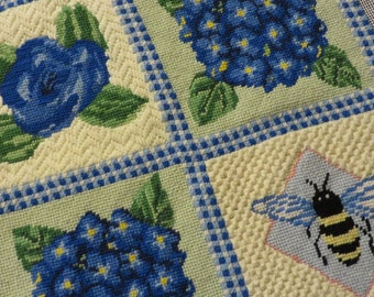 "Wool Needlepoint HYDRANGEAS, BEE and ROSE  //  Frameable or Make into Pillow Vintage Needlework  13 1/2"" Square"