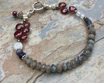 Labradorite Bracelet with Garnet, Multi Gem Bracelet, Artisan Bracelet with Hill Tribe Silver.