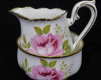 Royal Albert American Beauty Pink Roses Cream and Sugar Bowl, American Beauty Creamer, American Beauty Sugar Bowl, Bone China England