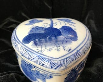 Vintage Blue and White Ceramic Heart-Shaped Box
