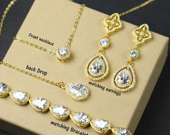 Crystal Bridal earrings  Crystal Wedding earrings Bridal jewelry Wedding jewelry  Rose Gold Bridal Earrings Crystal Wedding earrings