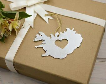 Heart Iceland Ornament Travel Memento Spring Decor Mother's Day Gift for Her Him Souvenir Country Reykjavik Custom Engraving Stamping