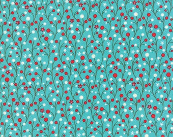 Jingle Birds Bluebird Berries Yardage, SKU 32253-13 by Keiki for Moda Fabrics