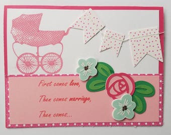 Hand made, expecting baby girl card