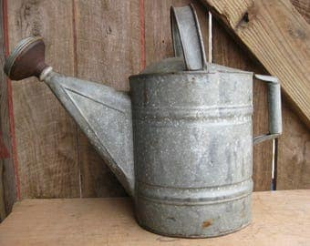 Antique Galvanized Watering Can NO.12 with Brass Sprinkler Head