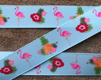 "3 yards Flamingo printed ribbon Tropical Paradise ribbon 7/8"" Flamingo and pineapple grosgrain ribbon Pink Flamingo ribbon craft supplies"