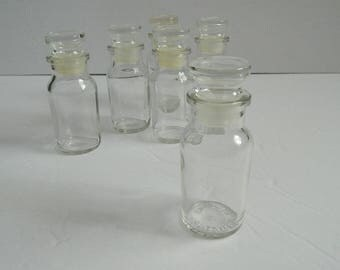 Set of 6 Retro 1970s Medium Sized Clear Glass Bottles with Stopper Marked Made in Japan