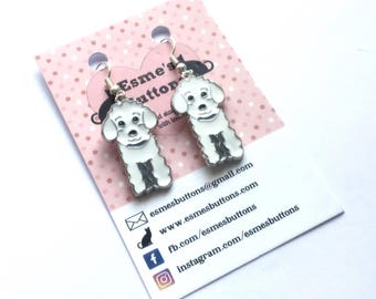 White Poodle earrings, White Poodle gift, dog lover gift, gift for her, fun earrings, silver plated wires, nickel free, uk seller, Norfolk