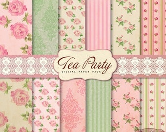 Tea Party Digital Papers, 12 Shabby Chic Digital Papers, Retro Scrapbook Digital Papers For invites, card making, digital scrapbooking
