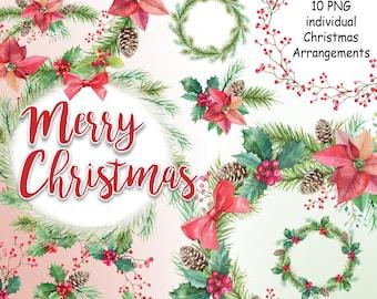 Watercolor Christmas Wreaths Clip art. Winter flowers. Watercolor Poinsettia, digital clipart, hand painted clip art