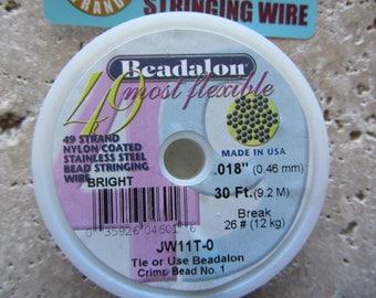 Beadalon Beading Wire 49 strand .018 30ft