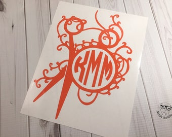 Scissors Decal, Hair Stylist Decal, Scissors Car Decal, Scissors Monogram Decal, Sewing, Quilting - Choice of size and color