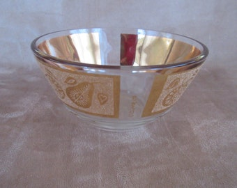 Vintage ©Culver Ltd. Glass Bowl with Gold Fruit Band, Mid Century Snack Bowl