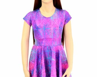 Toddlers and Girls Size 2T 3T 4T and 5-12 Northern Lights Cracked Tile Cap Sleeve Skater Dress 154629