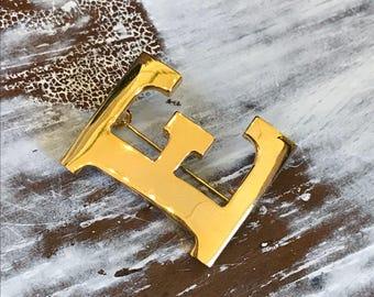 Ann Klein 1990s Brooch Pin E Letter Initial Gold