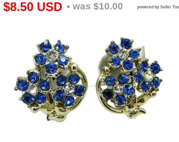 Blue Rhinestone Flower Bouquet Earrings Vintage Blue and White Silver Tone Flower Clip on Earrings Gift Idea