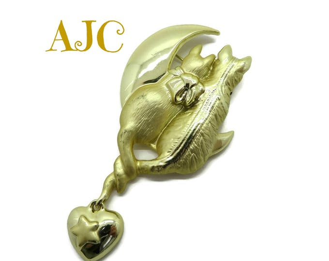 AJC Brooch, Vintage Cattails Brooch, Lovebird Cats, Moon Gold Tone Pin, Gift for Her, FREE SHIPPING