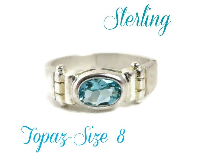 Blue Topaz Silver Ring - Vintage Antique Finish Sterling Silver Ring, Size 8, Gift for Her, Gift Box