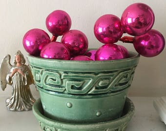 Vintage Glass Christmas Balls on Wire, Ornament Cluster on Wire, Posable Mercury Glass Balls, Mid Century Christmas, Pink/Fuschia