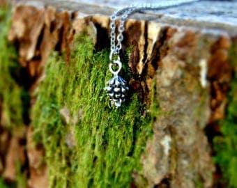 Pinecone Necklace, Pinecone Jewelry, Nature Jewelry, Tiny Pinecone, Fall Necklace, Rustic Necklace, Woodland Necklace, Minimalist Jewelry