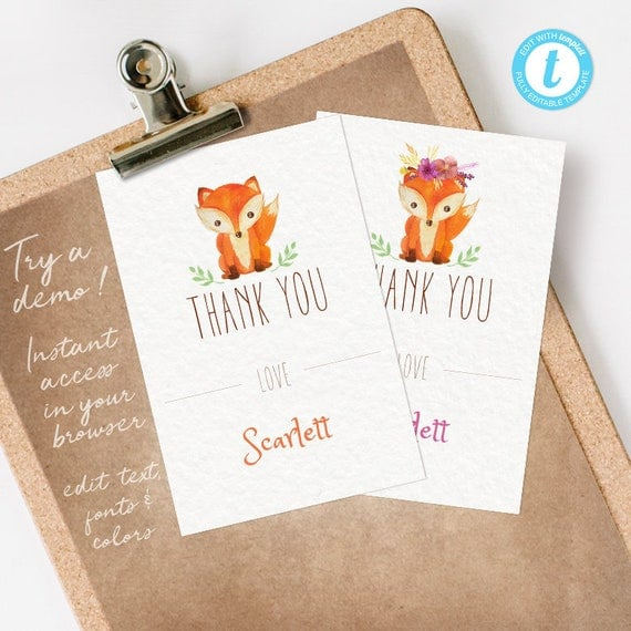 Fox Thank You Card, Fox Thank You Note, Fox Thank You Card, editable INSTANT DOWNLOAD printable at home