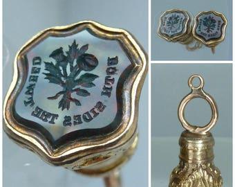 Victorian Intaglio Seal Fob Scotland England Treaty Union Both sides the tweed Historical Interest