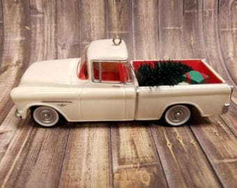 Vintage White Truck with Christmas Tree Ornament 1955 Chevrolet