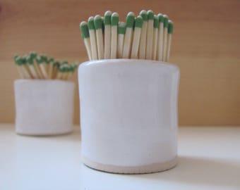 Match Striker - white - Handmade ceramic match holder with strike plate
