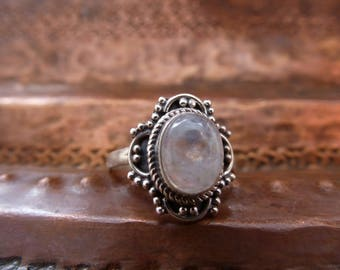 Rainbow Moonstone Solitaire Silver Ring ~ hand made, Indian 925 silver