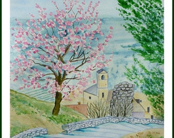 Watercolor - Market after walking towards the almond tree