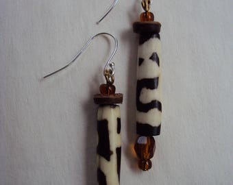 Handmade African cylinder bead earrings on sterling silver shepherd hooks