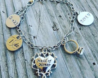 Hand stamped Wedding favors bridesmaid gifts-personalized gifts custom gifts wedding jewelry be my bridesmaide bridesmaid brecelet