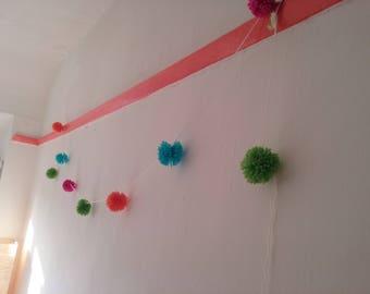 Pom Pom Garland (Green, Orange, Blue, Pink)