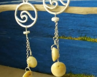 Wave and operculum shell earrings in sterling silver