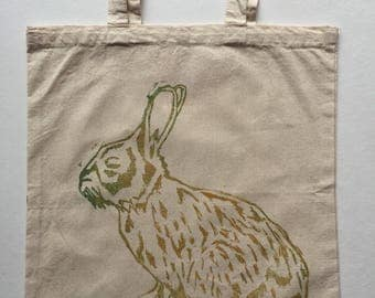 Rabbits Aren't Just For Easter (Gold) Handprinted Tote Bag