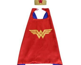 Wonder Woman Cape and mask set/ superhero/ childrens cape/ costume/party favor/kids/ stocking stuffer/ Christmas/ affordable