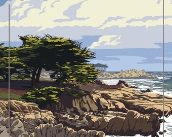 Monterey Coast, California - View of Cypress Trees - Lantern Press Artwork (Art Print - Multiple Sizes Available)