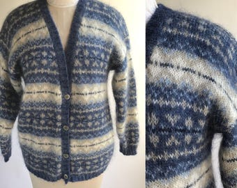 Vintage Blue Fair Isle Mohair Cardigan Sweater