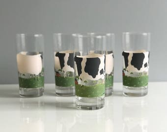 Vintage Warren Kimble Cow and Sheep Glasses/ Tall Cow Tumblers, set of 5