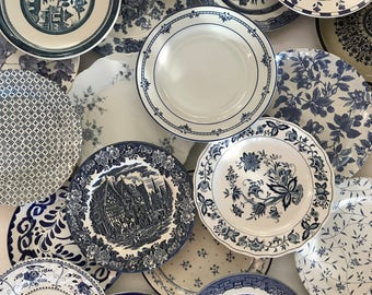 Blue White Dinner Plates Mismatched - Stripe Floral Spatter Asian Indigo Sky Ocean Blue - Wedding Shower Country Cottage Farmhouse Decor